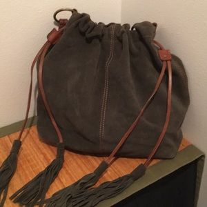 Lucky Brand Suede Hobo/ Olive Brown